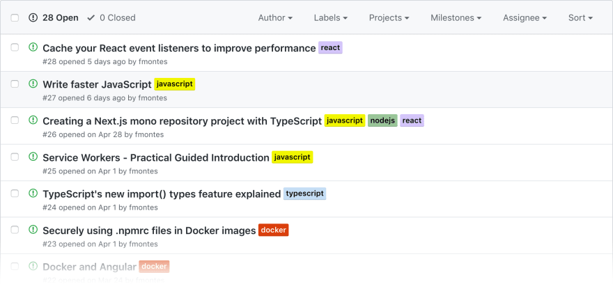 GitHub Issues List