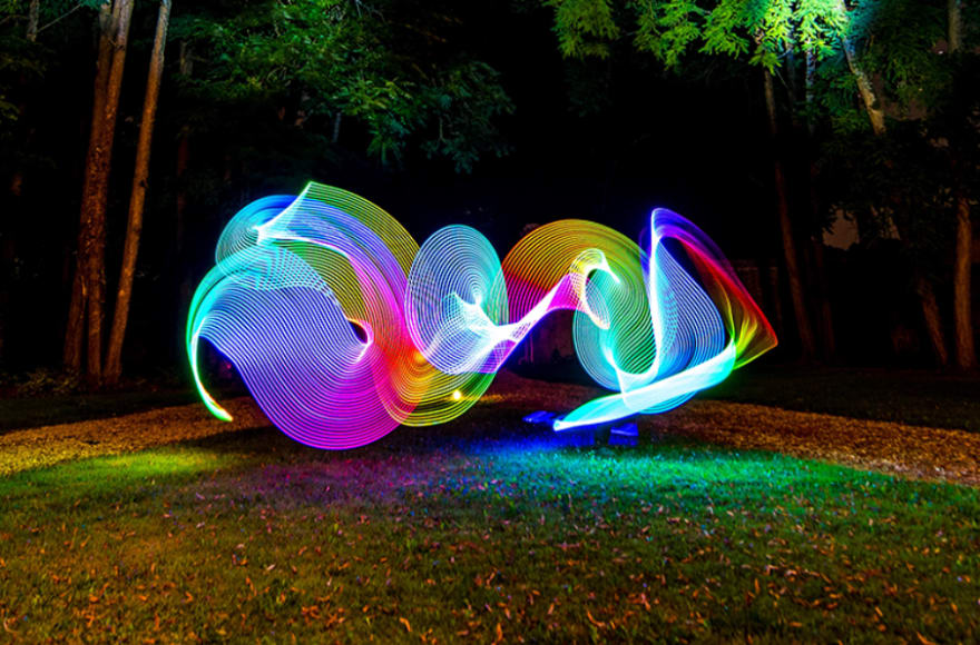 people playing with light colors