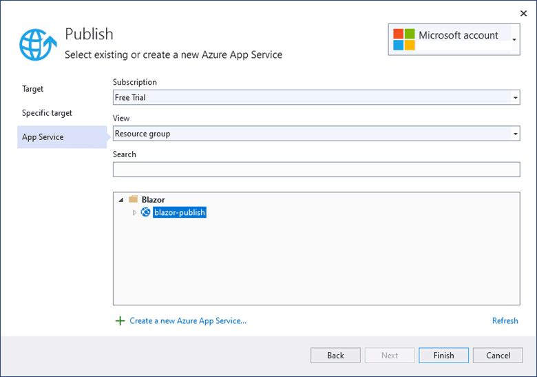 Login into your Azure account and choose the web app service. Then, click Publish
