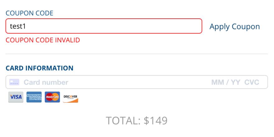 A screenshot of the invalid promo code UI