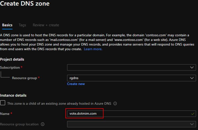 DNS Zone creation