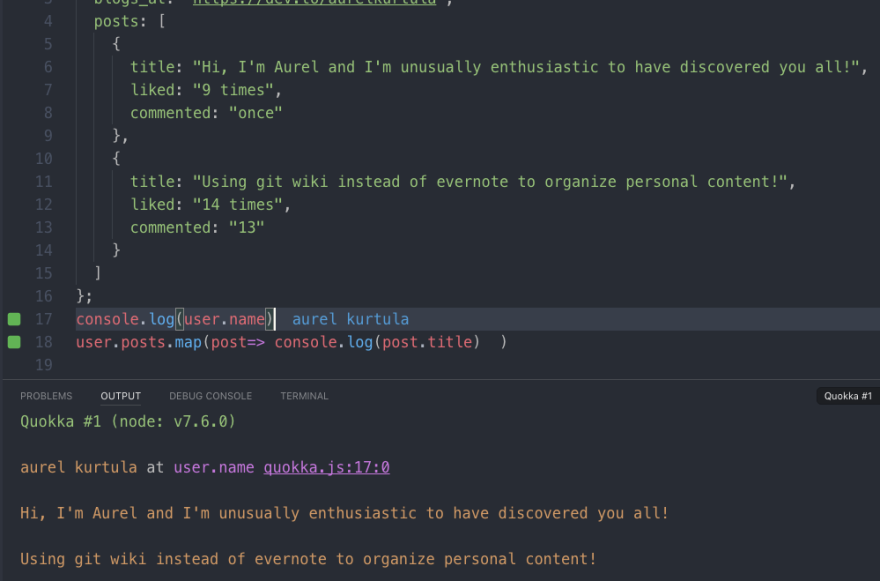 Using your editor as a JavaScript playground with Quokka js