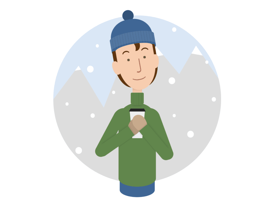 Cartoon of a person wearing winter clothes and holding a coffee paper cup. In the background there's snow and icy mountains