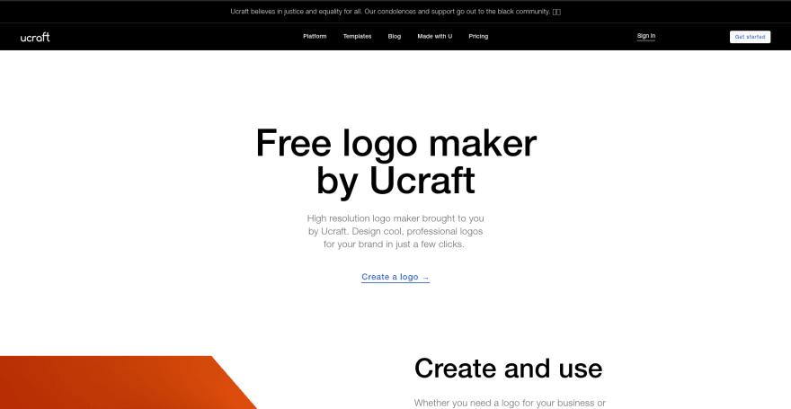 Ucraft Logo Maker landing page