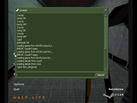 screenshot of cheats being activated in console in Half-Life