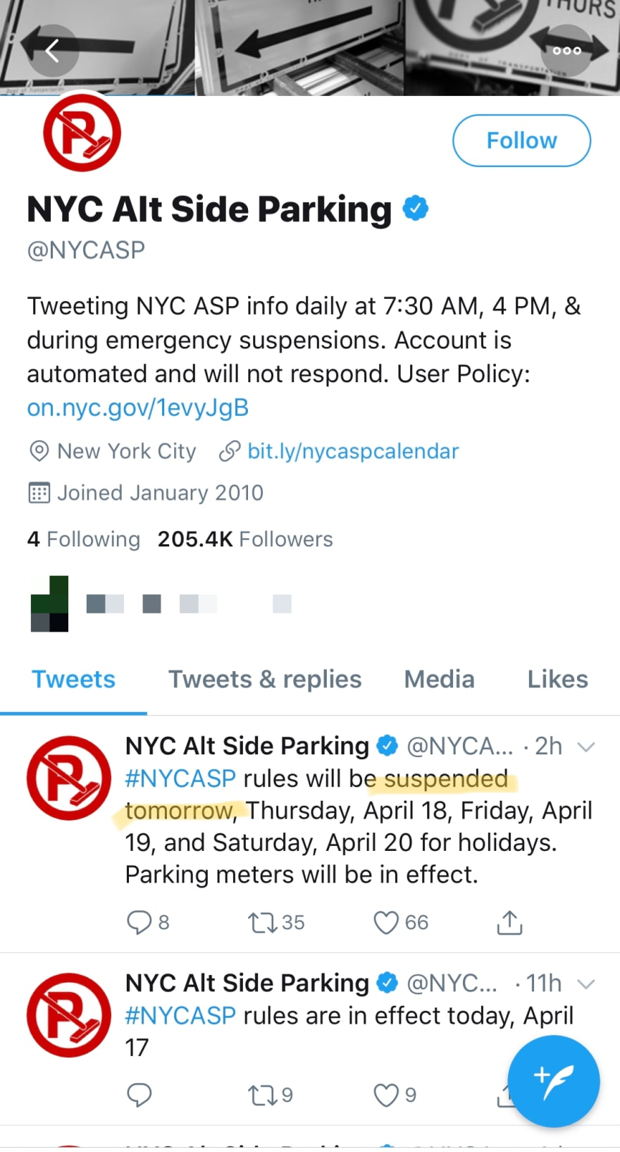 Screenshot of Twitter account for NYCASP