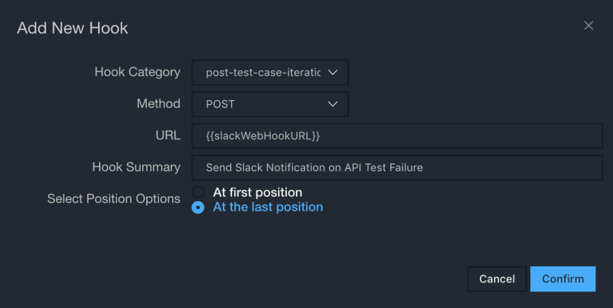Post Test Case Iteration Hook Dialog