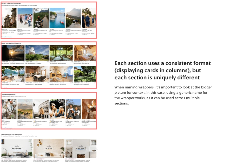 Airbnb home page layout