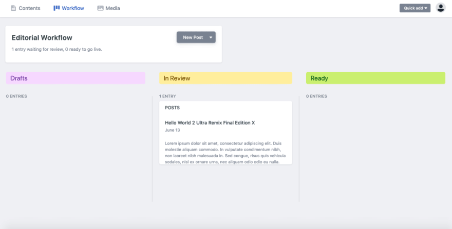 Workflow page