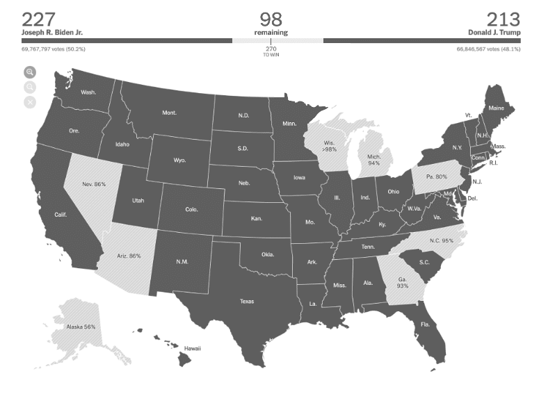 imulation of The New York Times' election map for full color blindness: everything is the exact same gray, it's no longer possible to tell which state is Democrat or Republican