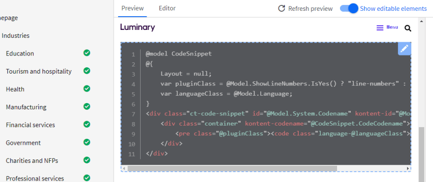 Kontent Smart Link SDK highlighting a code snippet component as editable