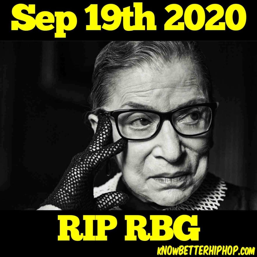 Ruth Bader Ginsburg posing with a lace glove with the words Sep 19th 2020 RIP RBG
