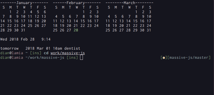 terminal with calendar and git status
