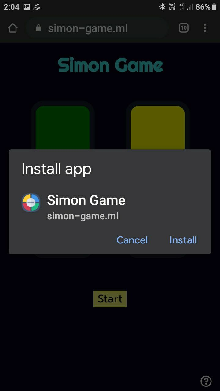 Simon-game PWA screenshot