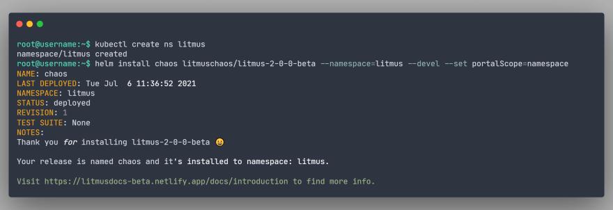 Creating litmus namespace and installing LitmusChaos
