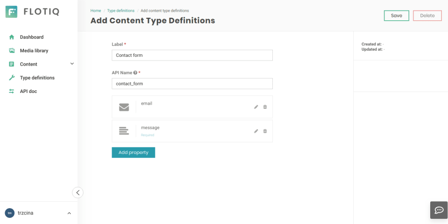 Configuring a content type for contact forms in Flotiq