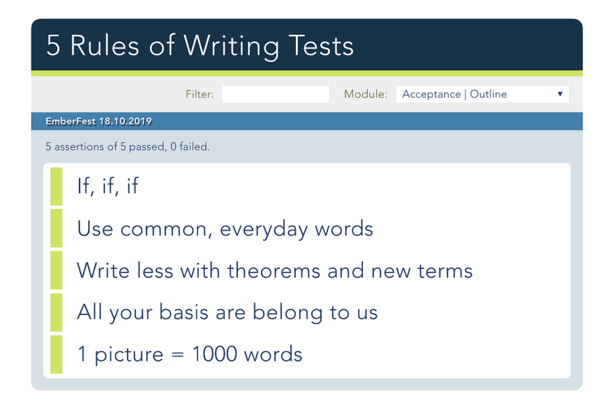 List of 5 rules of writing tests
