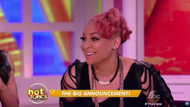 """Raven-Symoné with caption """"The Big Announcement"""" on The View"""