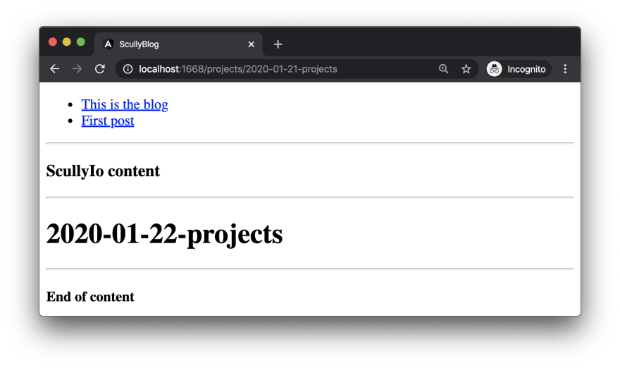 the initial projects post generated with the Markdown schematic