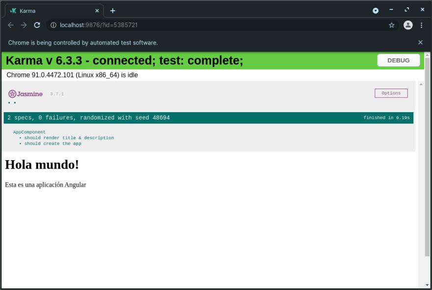 Resultado de ejecución en Chrome