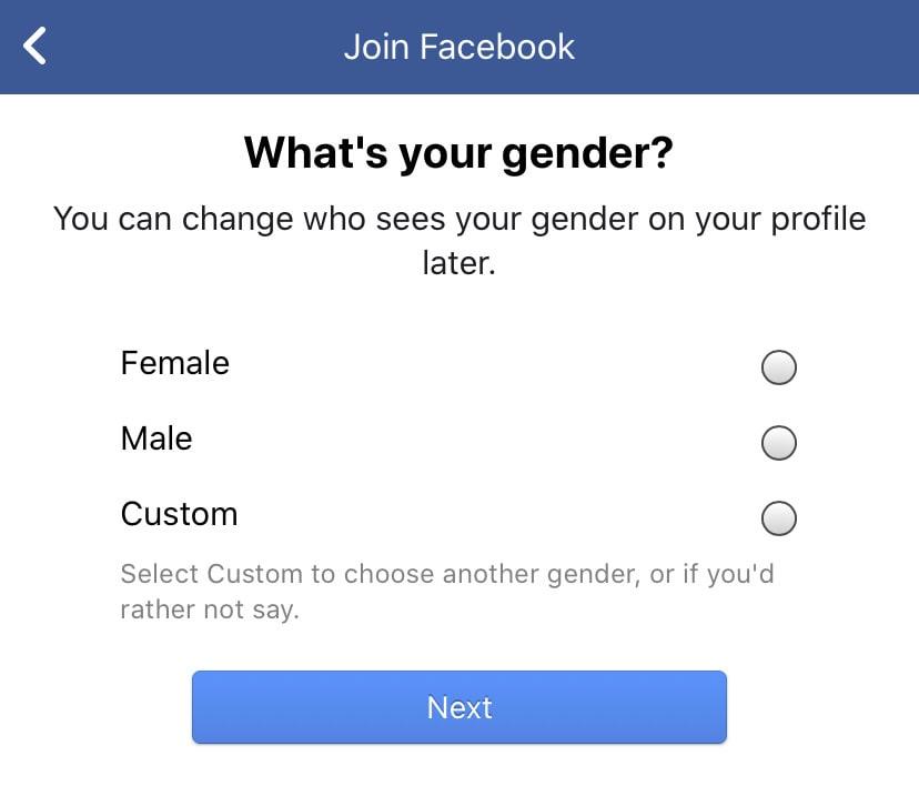 Facebook's gender selector: three options, man, woman or custom