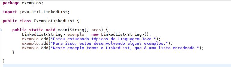 Exemplo de utilização de uma LinkedList