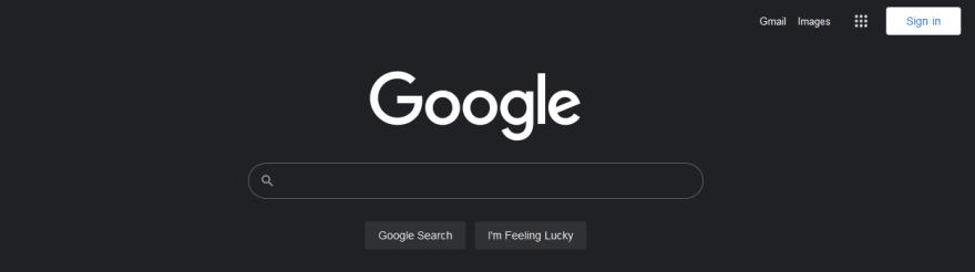 Google search homepage in dark mode