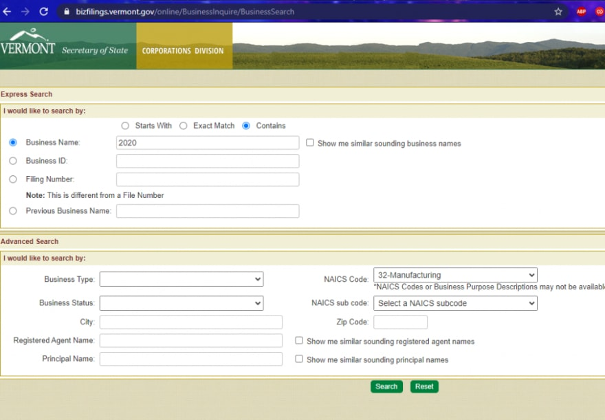 vermont secretary of state search
