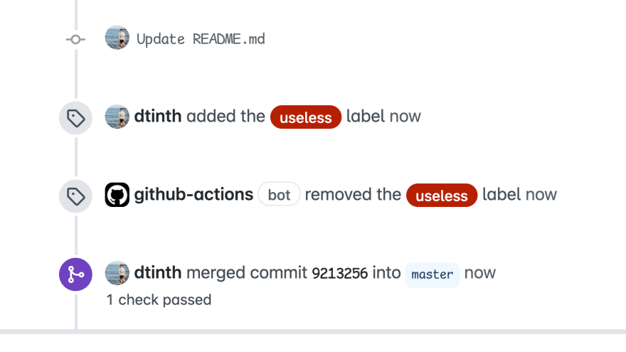 When I add the useless label to a PR or an issue, GitHub Actions removes it