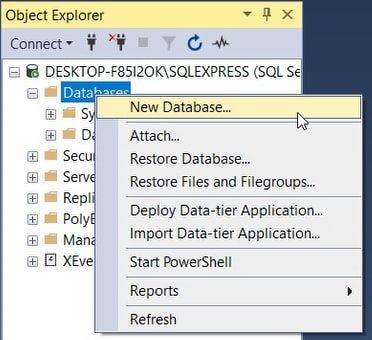 Object Explorer of SQL Server Management Studio