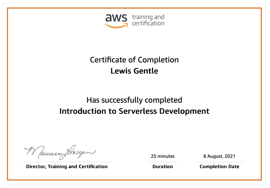 AWS Introduction to Serverless Certificate