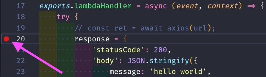 VSCode Breakpoint Screenshot