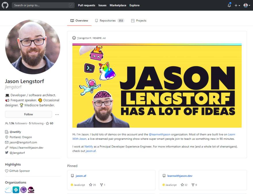 GitHub Profile Screenshot of Jason Lengstorf