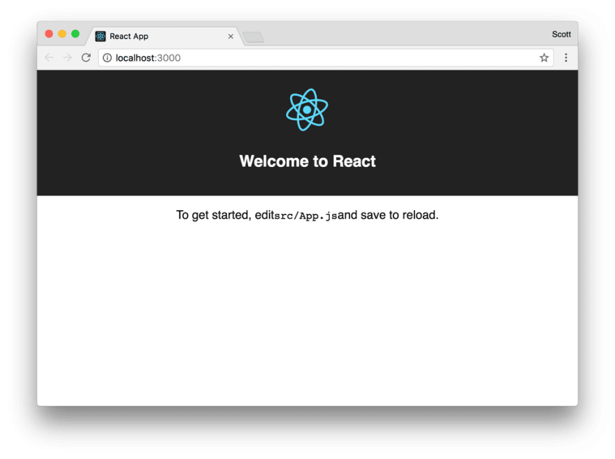 Screenshot of the default React app in the Chrome web browser