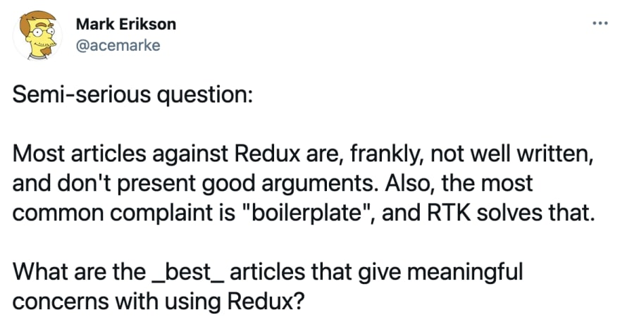 What are the best articles that give meaningful concerns about Redux