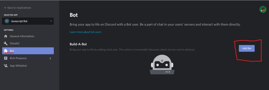screenshot of a bot user