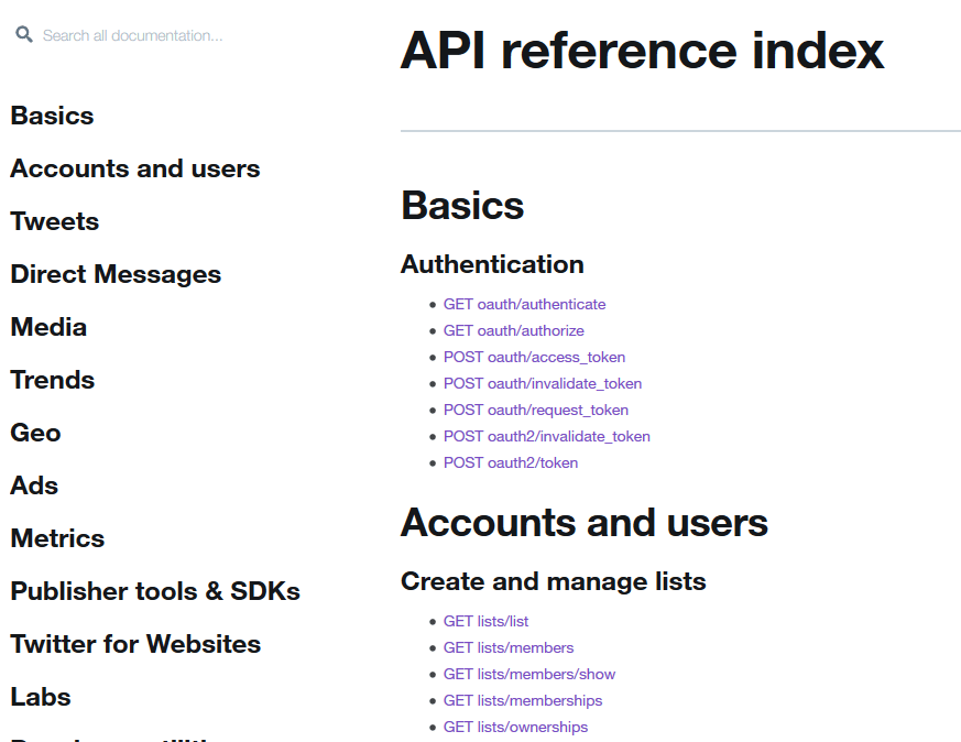 twitter api reference