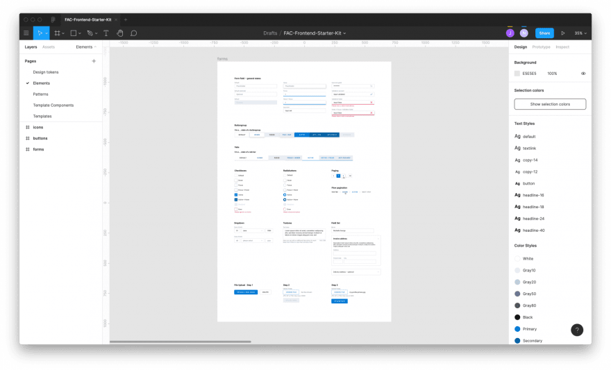 Screenshot of our Frontend Starter Kit in Figma