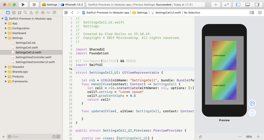 SwiftUI preview for Cell