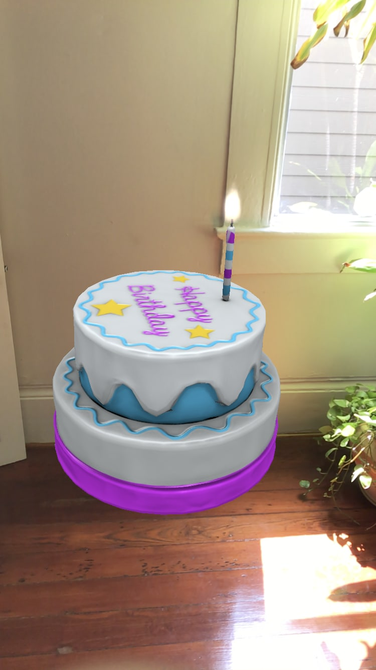 Floating birthday cake with flame