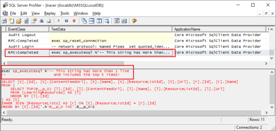 SQL Server Profiler, showing Query Tag text with newline