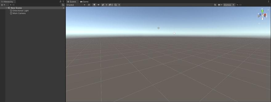 A scene editor showing an empty scene in 3D Mode.