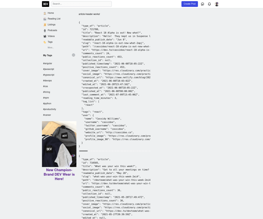Dev.to Sidebar and article data