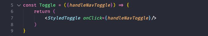 how to add the click event handler for our toggle component