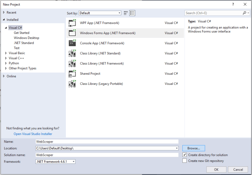 Visual Studio New Windows Forms App