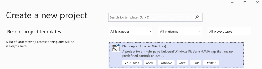 Screenshot of Create Project in Visual Studio showing Blank App template