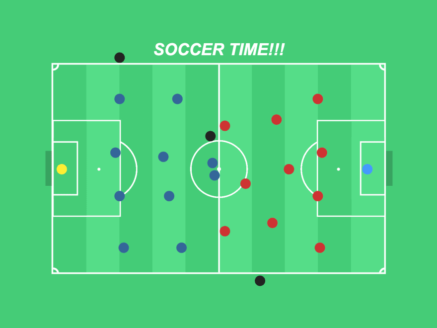 Illustration of a soccer field from the top. The players and referees are dots, the team on the left is following a 4-4-2 tactic, while the team on the right has a 4-3-3