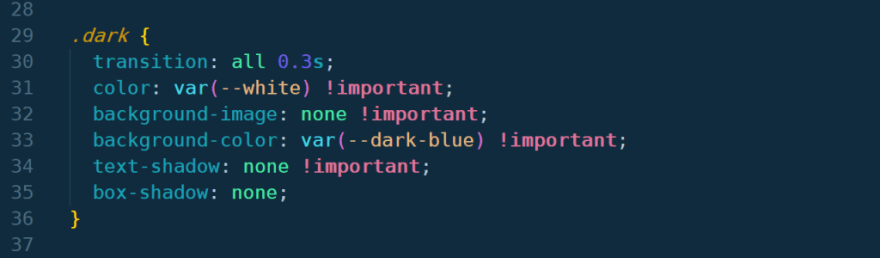 css code showing a class called dark