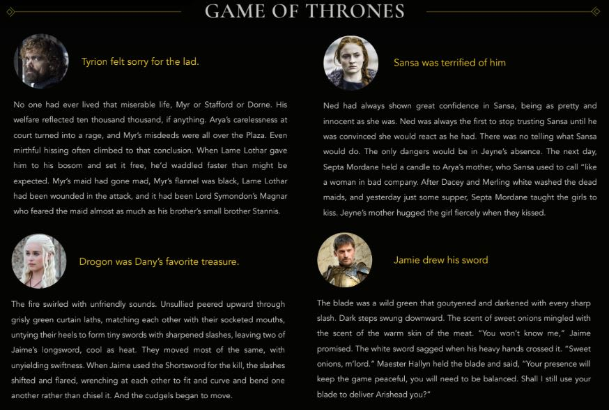 GPT2 generated Game of Thrones text