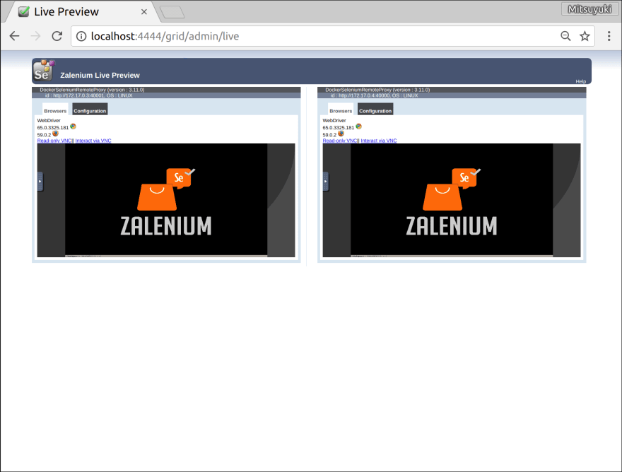 Tried Zalenium to run Selenium tests on scalable containers